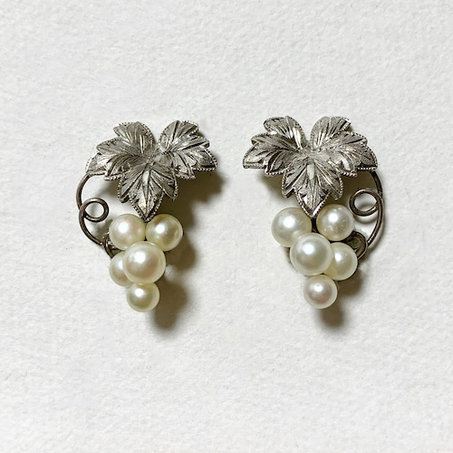 Vintage Sterling & Faux Pearl Grape Earrings