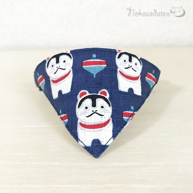 【犬張り子柄】猫用バンダナ風首輪/選べるアジャスター 猫首輪 安全首輪 子猫から成猫