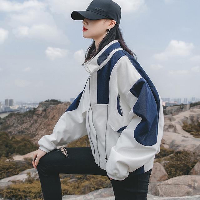 【貝姿娘シリーズ】★ジャケット★ アウター 切り替え スタジャン 白と青 配色 ホワイト ブルー S M L XL