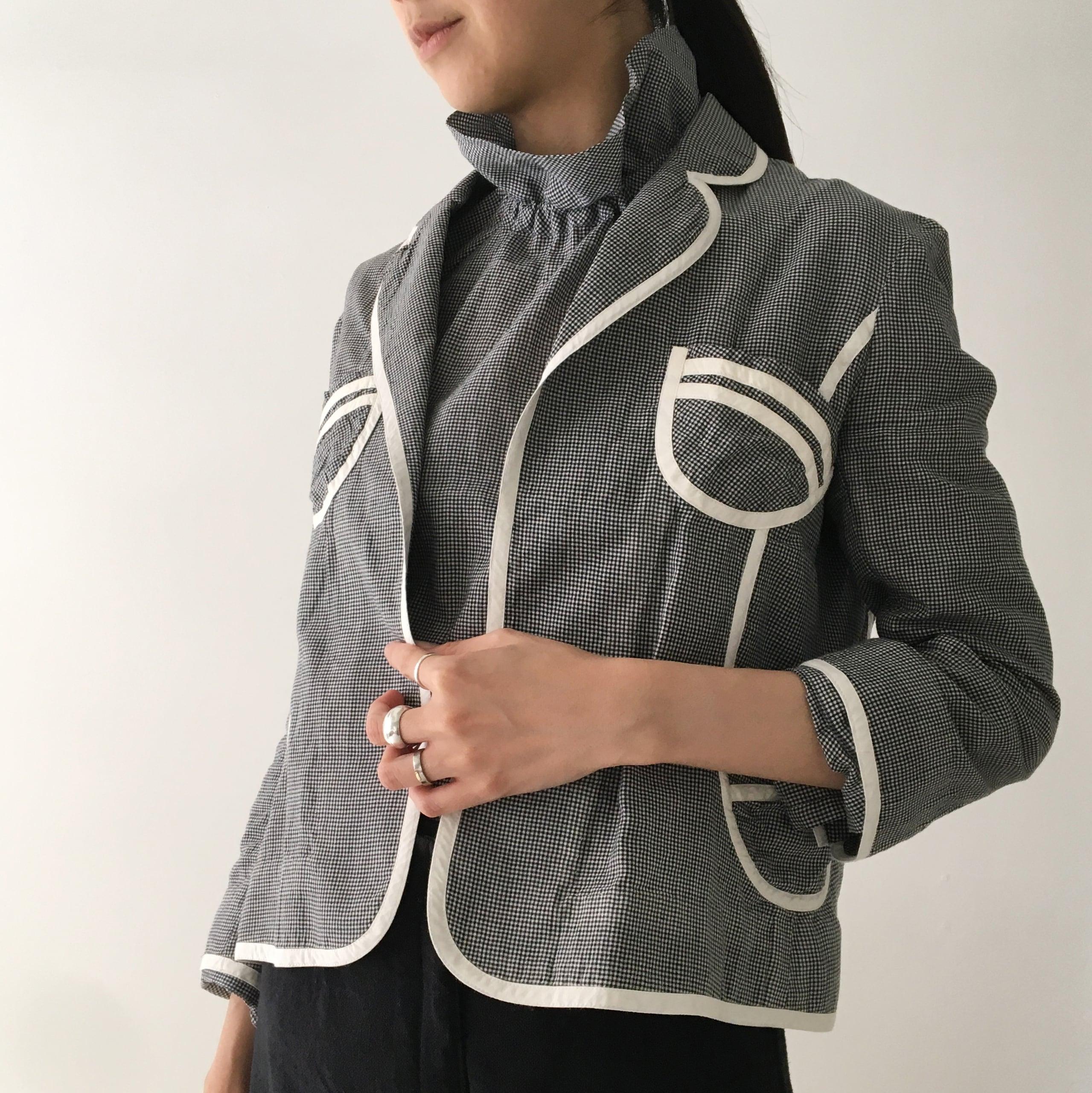 "Waist shape jacket ""black pin check"""