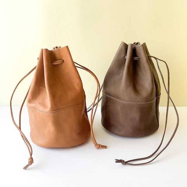 Arts & Crafts - Vegetable Horse Leather Draw Strings Pouch / M - キャメル / グレージュ