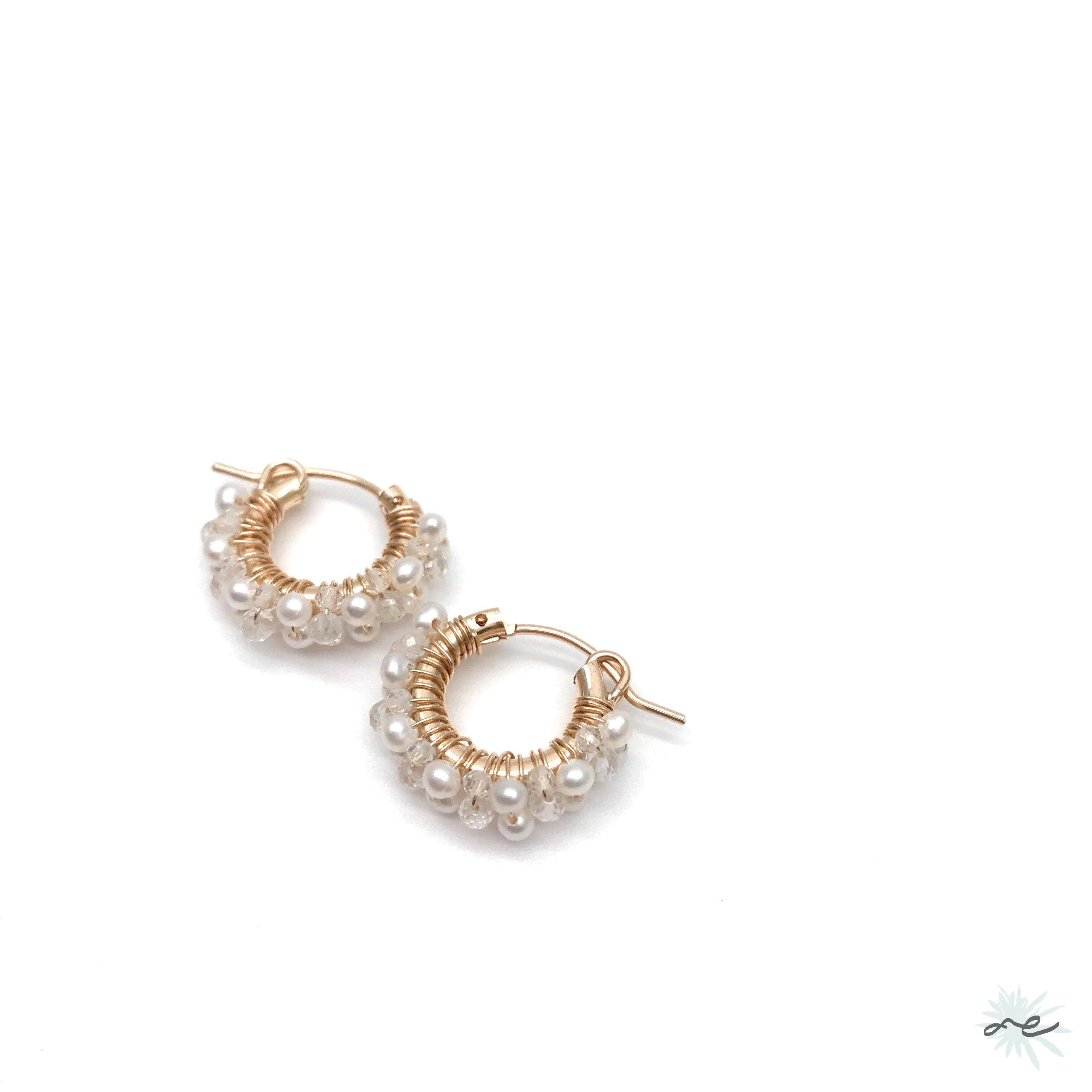Hoop Earrings(Topaz,Freshwater Pearl)/K14 gf