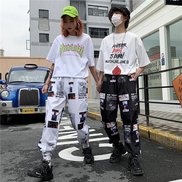 【ボトムス】ストリート系レギュラー丈幾何模様プリントカジュアルパンツ25968381