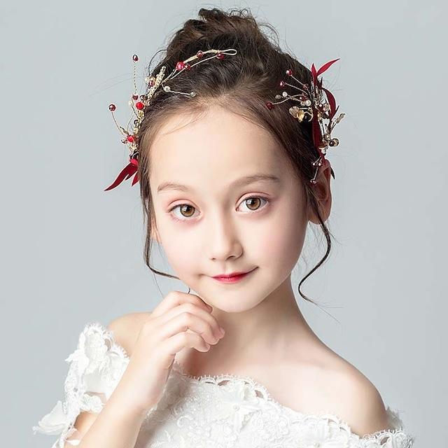 子供アクセサリー 子どもアクセサリー ヘアーアクセサリー 髪飾り キッズ 結婚式 入園式 発表会 卒園式 子供ドレスと合わせやすい 気質よい ビーズ レッド 赤い 可愛い