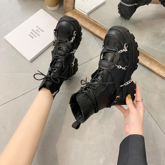 【シューズ】ファッションメタルアクセサリー透かし彫りブーツ42908036