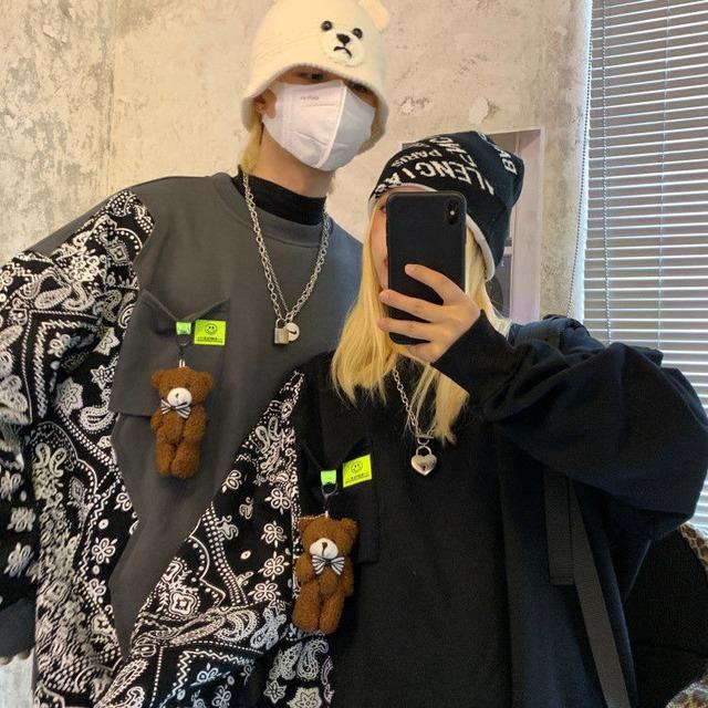 【トップス】ファッションINS風プリントルーズ長袖Tシャツ53912012