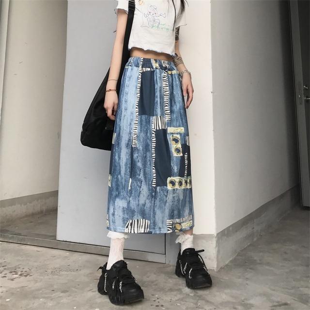 【ボトムス】ins超人気ストリートプリント配色スカート43495329