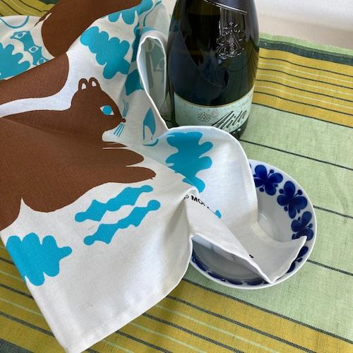 キッチンクロス ふきん 北欧柄 リス柄 エストニア製 コットン キッチン雑貨 生活雑貨 ブラウン