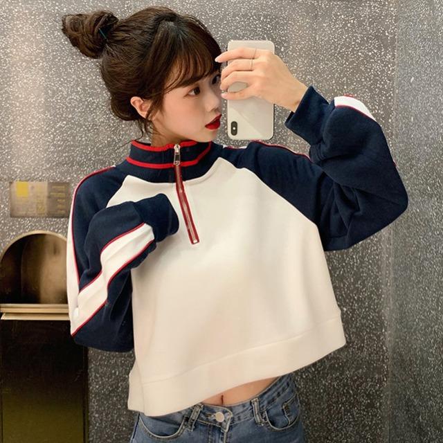 【トップス】ファッション配色切り替えパーカー43010589
