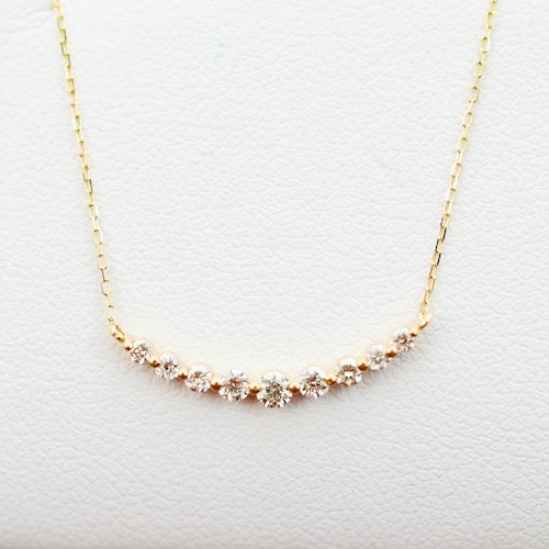 K18ダイヤモンドバータイプネックレス - 1466