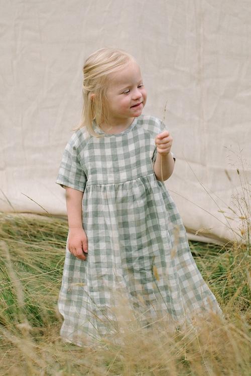 Nellie Quats Hopscotch Dress - Pistachio Check Linen