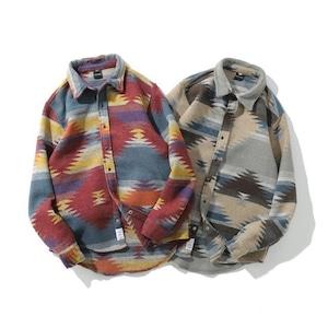 【UNISEX】フランネルシャツ 幾何学模様【2colors】